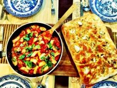 Ricotta Gnocchi with Garlic and Rosemary Focaccia