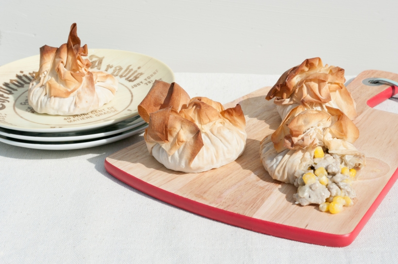 Chicken and Corn filo parcels