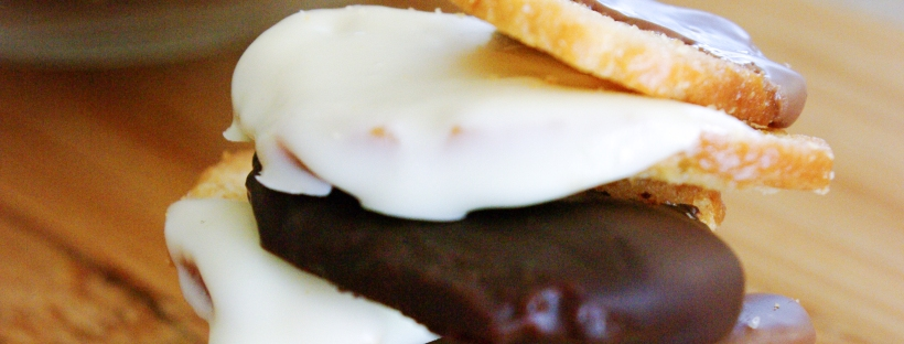 Chocolate Dipped Bagel Crisps