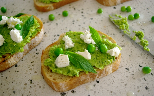 Pea and Persian Feta Bruschetta