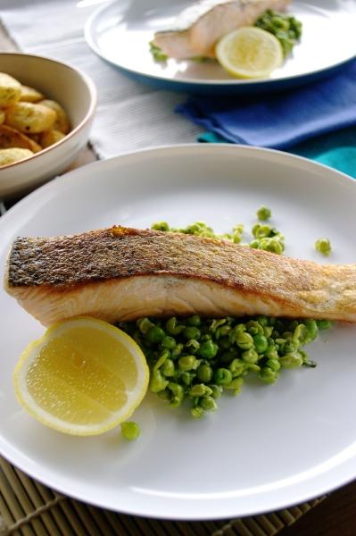 Salmon with Mushy Peas