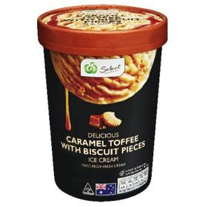 Woolworths Select Ice Cream Caramel Toffee Biscuit 1L